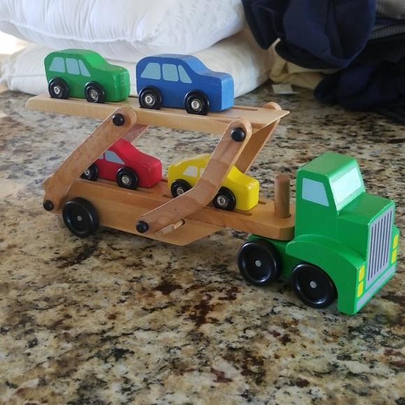 Melissa Doug Car Carrier Truck 4 Colorful Cars